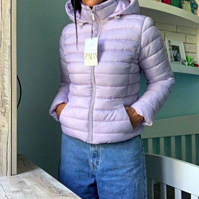 Odzież wierzchnia ZARA nowa damska lekka pikowana kurtka w liliowym kolorze rozmiar XL