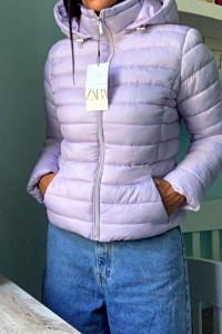 ZARA nowa damska lekka pikowana kurtka w liliowym kolorze rozmiar XL