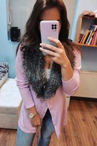 Różowy sweter kardigan L futerko