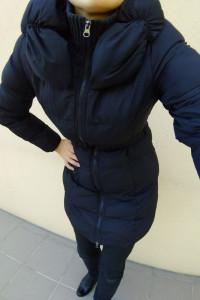 Czarna pikowana zimowa kurtka płaszcz cirply r s kołnierz pasek tkmaxx