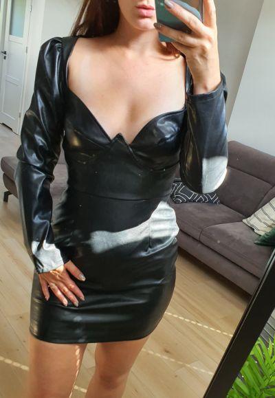 Suknie i sukienki Pretty Little Thing sukienka czarna skórzana 38