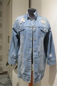 kurtka dżinsowa katana blogerska M długa niebieska