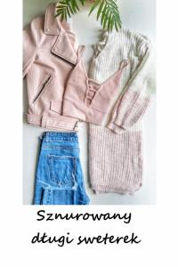 Długi sznurowany sweterek S M L oversize