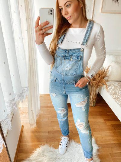 Spodnie Jeansowe ogrodniczki z rozdarciami