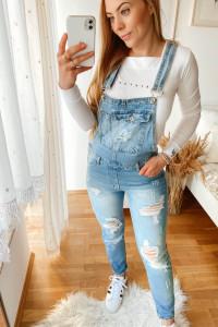 Jeansowe ogrodniczki z rozdarciami