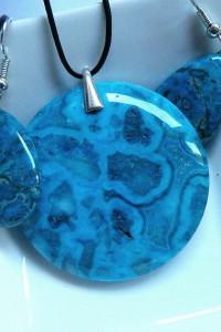 Meksykański niebieski agat szalony zestaw biżuterii w srebrze...