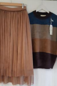 Włoska spódnica tiulowa pastelowa rudość camel