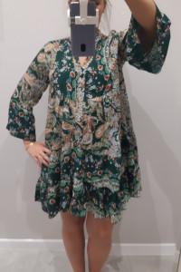 Włoska Sukienka w stylu boho piękna butelkowa zieleń