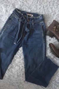 Wiązane jeansy spodnie z wysokim stanem wiązanie w talii spodni...