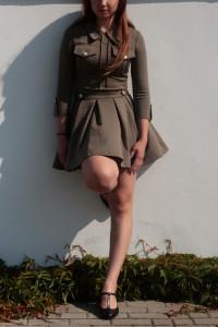 Sukienka Khaki militarny styl oficerka khaki xs sukienka khaki ...