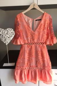 koralowa sukienka xs