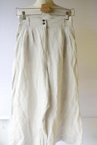 Spodnie Beżowe H&M Rozszerzane Nogawki S 36 Len Lniane...