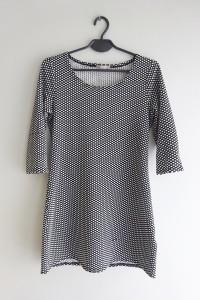 Orsay czarno biała sukienka tunika w kropki groszki 36 S