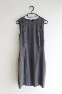 HM szara ołówkowa dopasowana sukienka biurowa 36 S