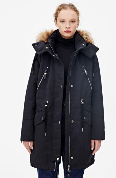 Odzież wierzchnia Kurtka parka pullandbear s 36 czarna 3w1 zimowa premium