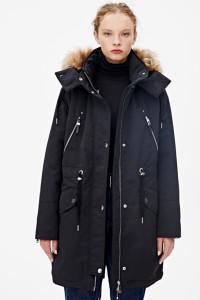 Kurtka parka pullandbear s 36 czarna 3w1 zimowa premium