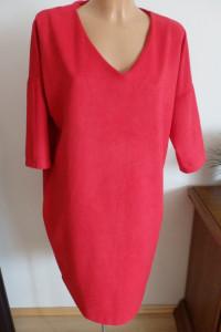 Sukienka czerwono malinowa z kieszeniami...