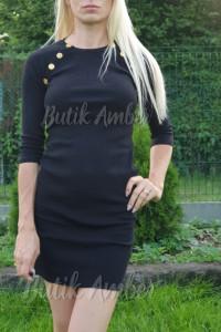 Sukienka tunika guziki nowa s m sklep czarna...