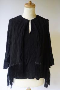Bluzka Czarna Zara Woman M 38 Frędzle Frędzelki Czerń