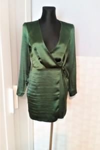Zielona satynowa sukienka Asos