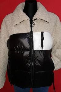 Sliczna kurtka kożuszek kieszonki eco skórka zamki frędzelki...