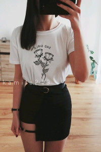 czarna seksowna dopasowana spódniczka z wycięciem w stylu grunge vintage goth tumblr 90s sexy