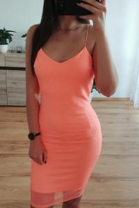 neonowa dopasowana ołówkowa bandażowa seksowna sukienka midi z siateczką do kolan neon sexy
