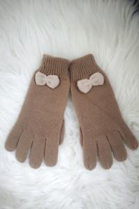 House Rękawiczki damskie zimowe z kokardką beżowe
