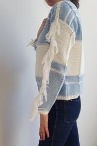 Damski sweter z frędzlami...