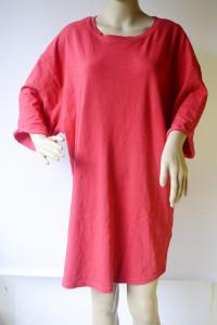 Sukienka Oversize Czerwona Worek Bik Bok L 40 Luzna