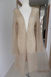 Sweter Kardigan Blezer Długi Beżowy Ażurowy Moherowy M