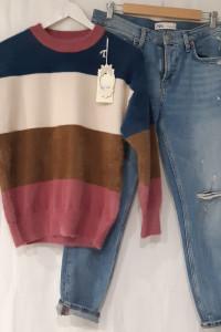 Włoski sweter alpaka z odcieniami różu