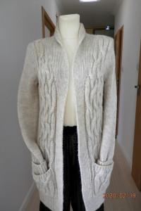 Sweter Zara Kardigan Blezer Długi Beżowy Gruby Ścieg M