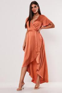 MISSGUIDED nowa asymetryczna sukienka midi z krótkimi rękawami