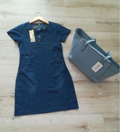 Suknie i sukienki Nowa jeansowa niebieska sukeinka z kieszeniami i napami