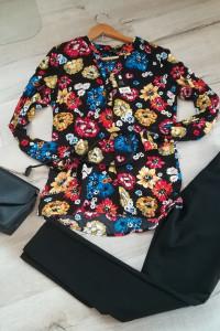 Nowa czarna koszula w kolorowe kwiaty na jesień