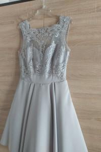 Siwa elegancka sukienka