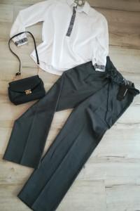 Firmowy zestaw idealny do pracy nowe spodnie i biała koszula