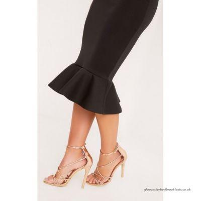 Spódnice Missguided dopasowana spódnica midi falbanka roz 34