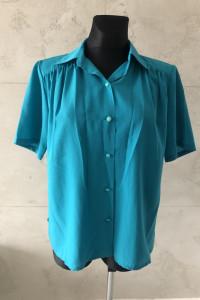RESERVED Koszula kolor morski krótki rękaw kołnierzyk XL