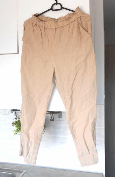 Spodnie HM kremowe lniane spodnie nude len chinosy