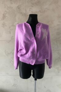 Sweter sweterek różowy kardigan damski S 36 rozpinany narzutka