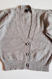 LINDEX Sweterek rozpinany w serek z bufkami chyba Angorka M ka
