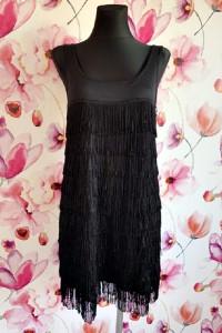 h&m sukienka czarna frędzle wyjściowa hit blog 36 m