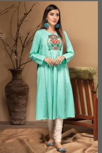 Nowa indyjska sukienka tunika S 36 M 38 zielona turkusowa haft ...