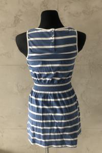 F&F Sukienka damska niebieska paski S 36 lato marynarska marine style