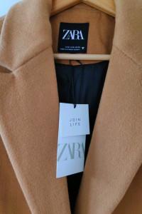 Zara płaszcz o męskim kroju z kieszeniami klasyczny karmelowy c...