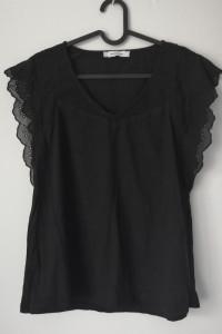 Czarna bluzka Promod z nietuzinkową koronką na rękawkach r 38 z...