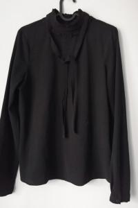 Czarna nietuzinkowa koszula Vero Moda z wstążkami i mini żabote...
