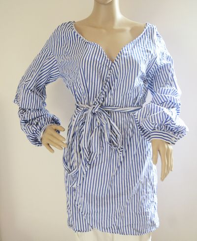 Suknie i sukienki Sukienka Tunika Paski Marynarska L 40 Simplee Kopertowa